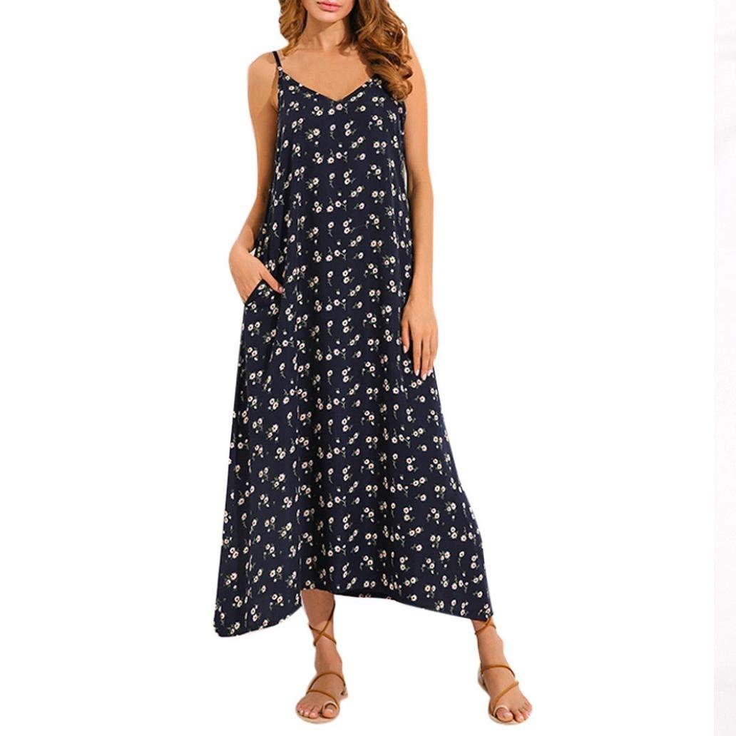 Women Summer Beach Dresses L, Black-1 Balakie Ladies V-Neck Long Sleeve Floral Print Evening Party Maxi Dress