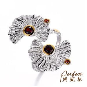 Unique Fan Design Garnet Stone 925 Sterling Silver Jewelry Ring with White Gold Plated