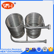 OEM-design 316l coil shell and tube heat exchanger, cracking tank with steam heating coils for beer cooling coil pipe