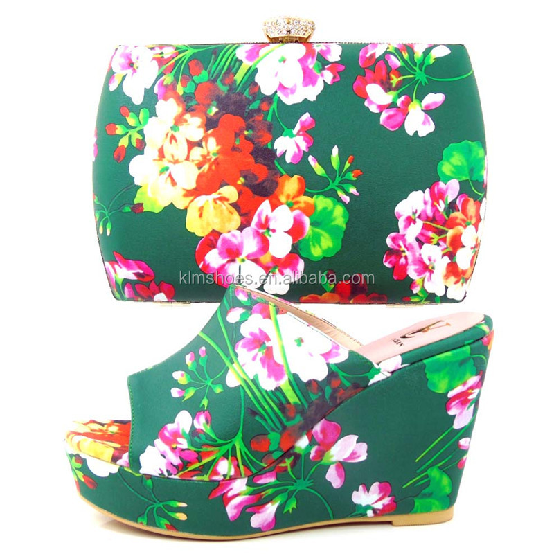High Match With Italy Women Pumps 28 High Shoe Flower Appliques Colorful Decorate TYS17 Bag And Pumps To With Heel axBYA