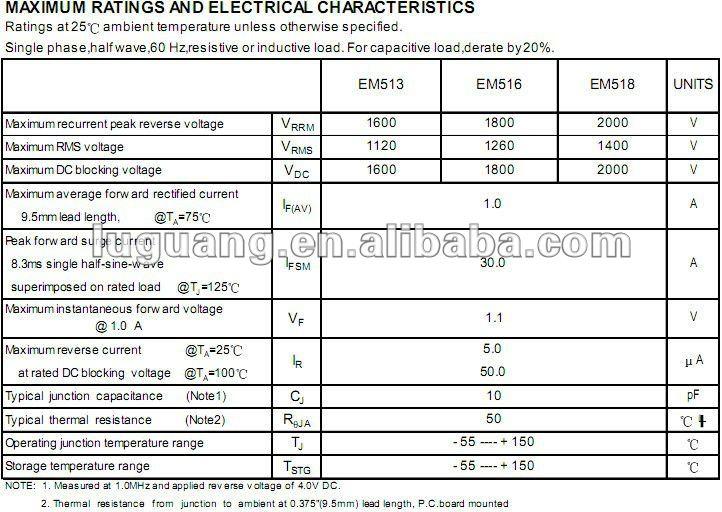 EM518 diode redresseuse 2000V 1A