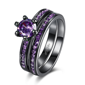 Latest design fashion black stone rings jewelry for girls and women