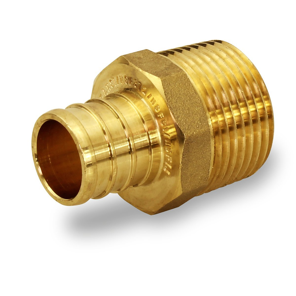 Everflow EPMA3410-NL 3/4 Inch x 1 Inch Lead Free Brass Adapters PEX x MIP, Brass Construction, Compatible w/ PEX Piping, Low-Cost plumbing Connection, Durability & Reliability, Easy to Install