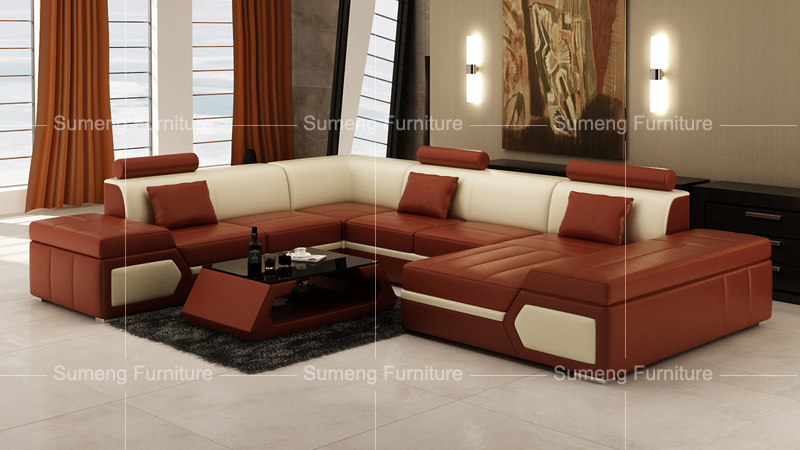 SUMENG Unique Genuine Leather Sofa Bed Set Furniture Philippines