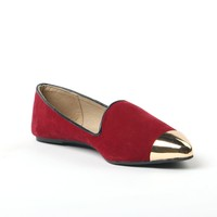 Tongpu Very Shiny Red Faux Suede Women Flat Casual Shoes