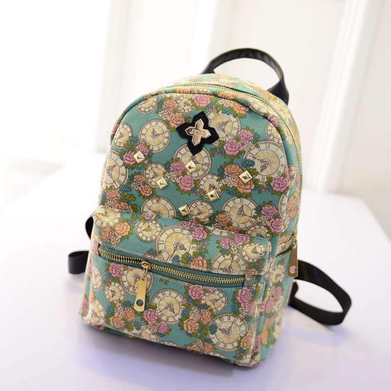 1aab66265f Get Quotations · 2015 Spring High quality Flowers Backpack fashion girls  rivet backpack book bags sports backpack