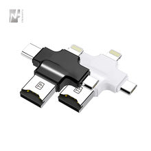 4 in 1 Micro USB 형 C OTG TF Card reader 대 한 microsd card 형 C card reader