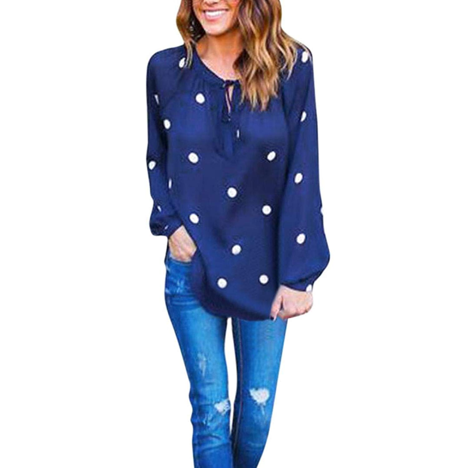 Leewos Clearance Sale! Autumn Party Blouse,Women Fashion Dots Printed Chiffon Tops Sexy V Neck Long Sleeve Bandage T-Shirts