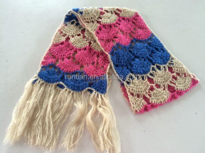 De La Muchacha De La Manera Vario Color Lindo Rayas Mohair Crochet ...