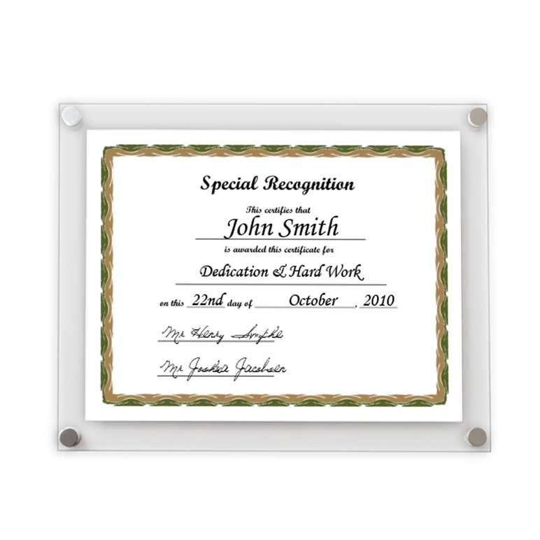 Acrylic Wall Frames acrylic wall mount certificate holder,company wall mount file