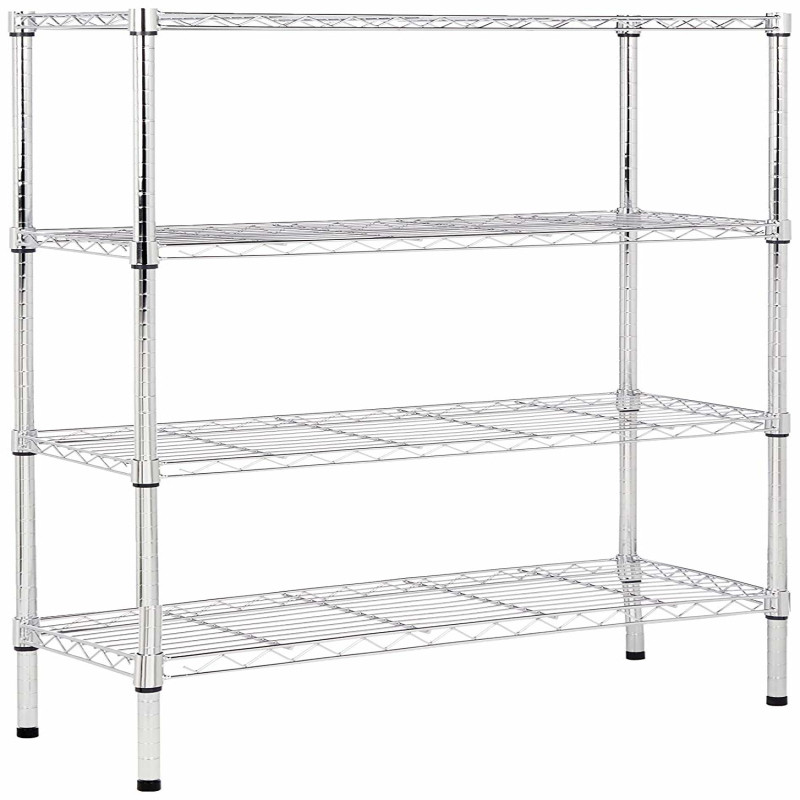 Warehouse storage wire shelving rack black stainless <strong>steel</strong> wire mesh shelves 4-tier chrome shelving unit