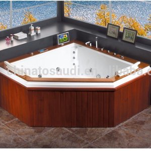 hot sale acrylic with wooden skirt size bathtub in inches