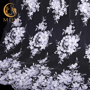 High quality textile 3d flowers wedding dress embroidery lace fabrics