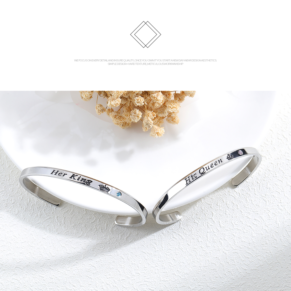 New Products Stainless Steel Cuff Custom Engraved Love Couple Bracelets Bangles