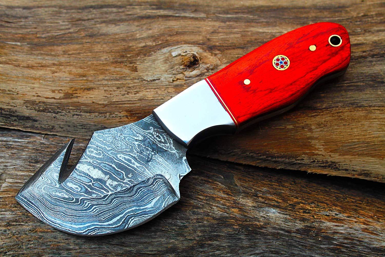 "3.0"" Damascus blade Custom made Wide Blade Cleaver w/Dyed Walnut wood, Steel Bolsters, Custom File-Work & Custom made Sheath Leather Cover UDK-L-S-02"
