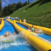 Crazy Giant Inflatable Game Slide The City 900ft inflatable Slip N Water Slide For Adults