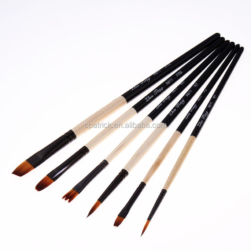 High Quality Series6pcs Canvas Art Painting Brush Nylon Flat Head Art Brush set for Art Supplies Drawing 2017