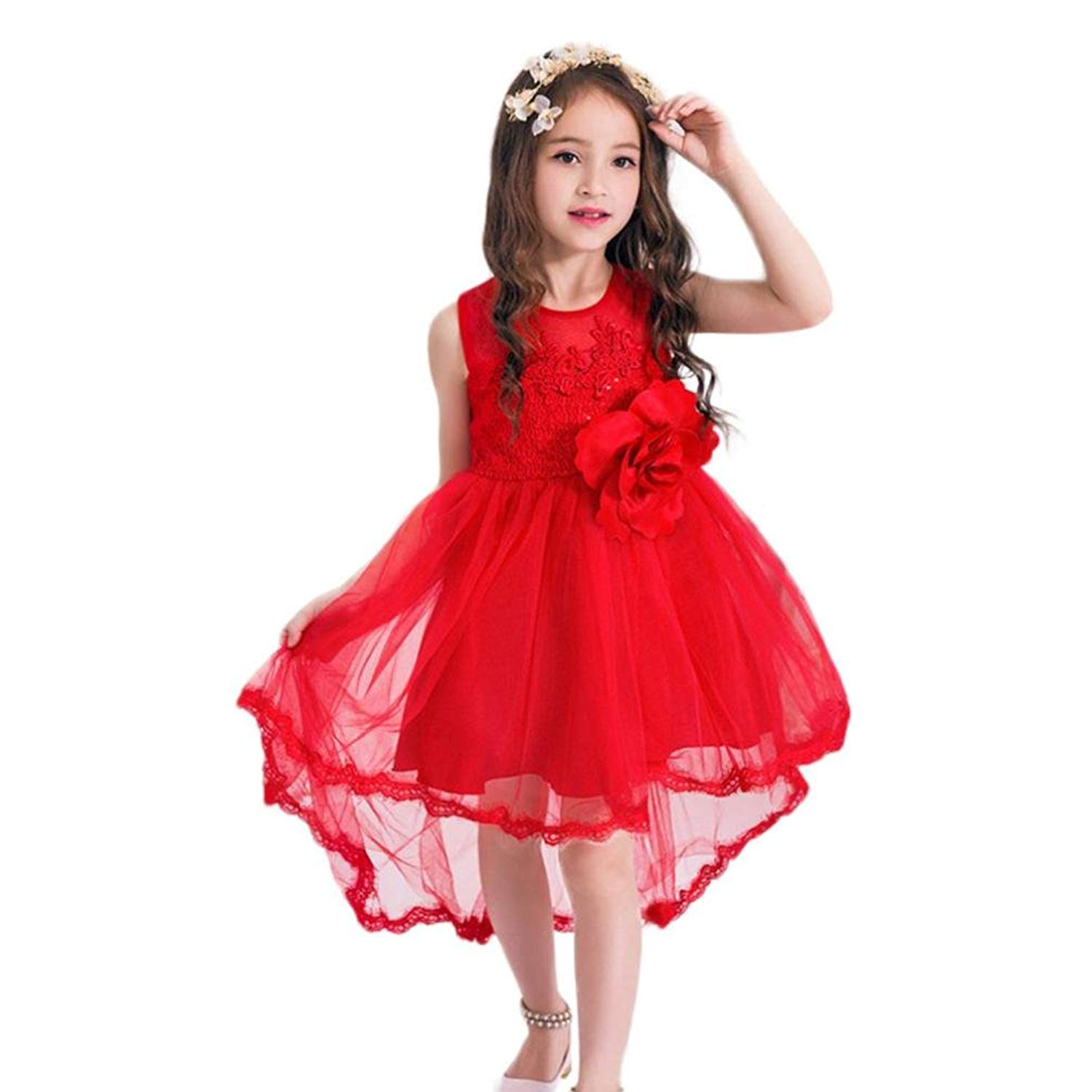 Toddler Infant Kids Girl Solid Long Sleeve Flower O-Neck Tulle Tutu Dress Mandystore Baby Girl Dress