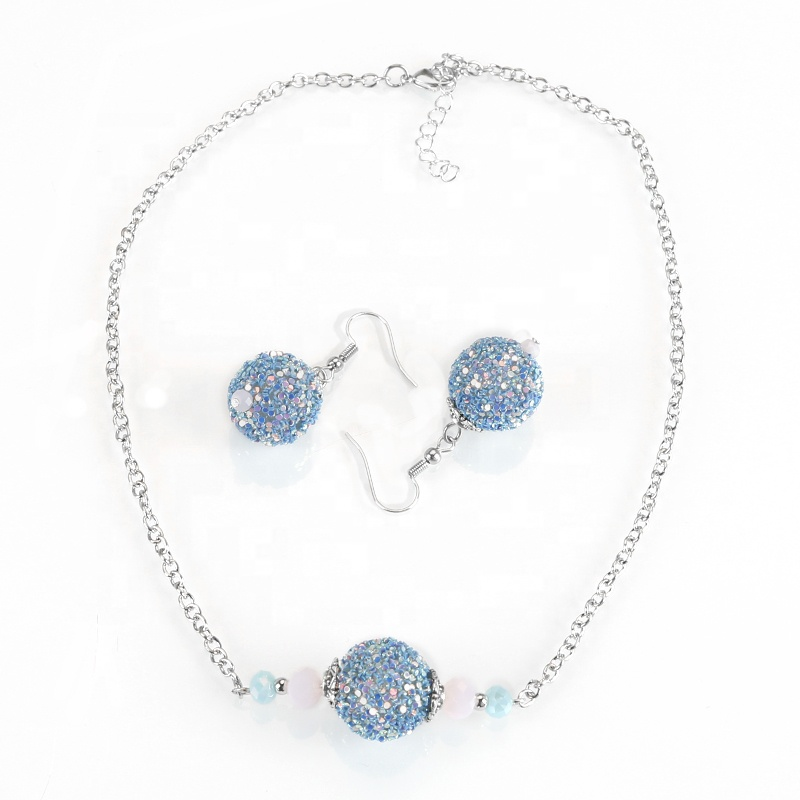 Blue Ball Charm Drop Earrings Sliver Chain Women Jewelry Set