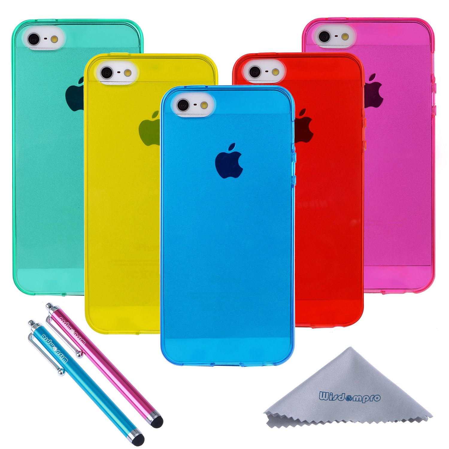 iPhone 5s Case, Wisdompro 5 Pack Bundle of Clear Jelly Colorful Soft TPU GEL Protective Case Cover for Apple iPhone 5, iPhone 5s & iPhone SE (Blue, Aqua Blue, Hot Pink, Yellow, Red)