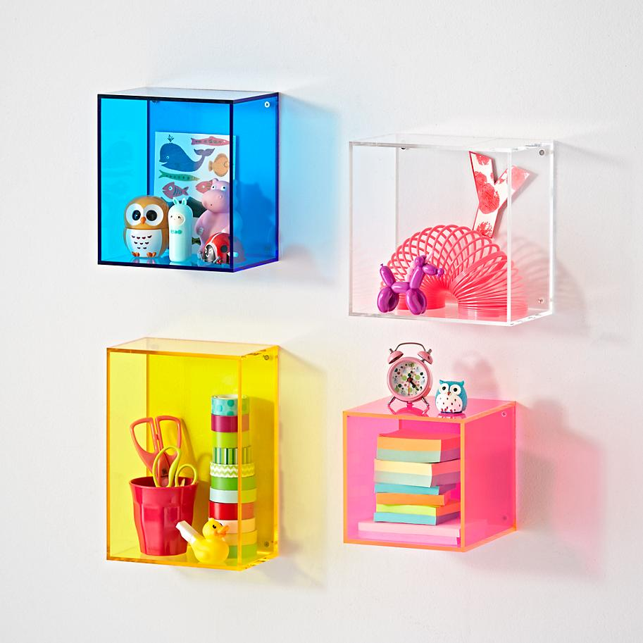colored customized acrylic plastic cube wall shelf wall mounted display shelf wall bookshelf