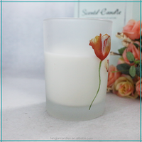 FJ006H personalized glass mirror votive candle scented soy candle wax decaled lotusflower glass candle