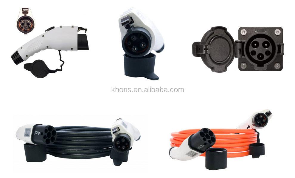 North American Standard UL Rated KHONS J1772 Plug Type 1 Level 2 EVSE Connector 32 Amp, 110V-240V