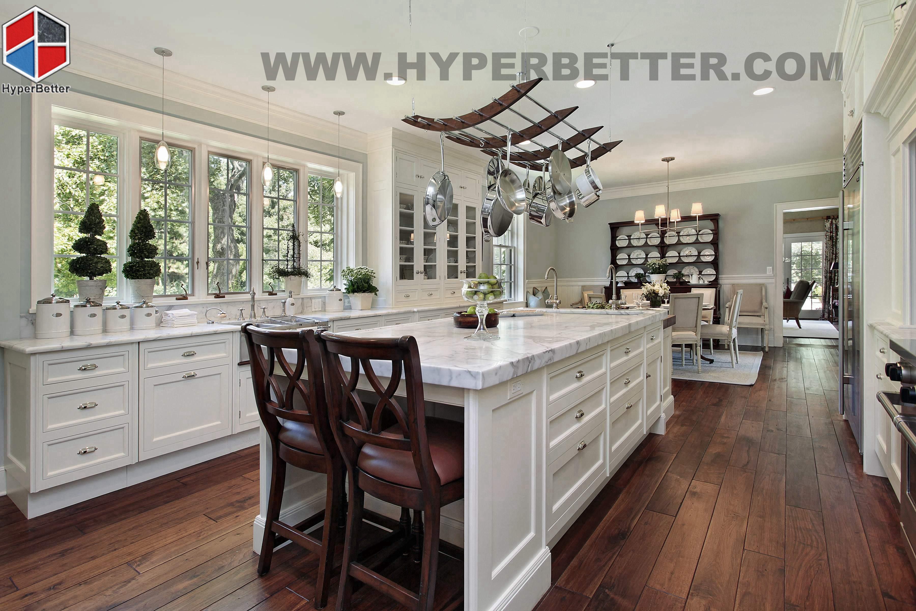 Kitchen red granite countertops display