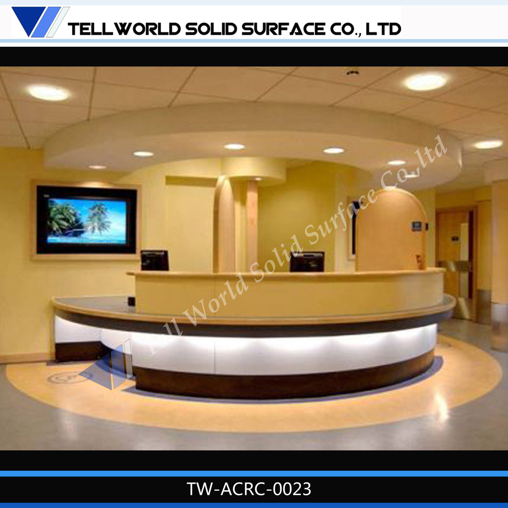 tw simple design custom made artificial marble round led hotel reception desk design - Hotel Reception Desk Design