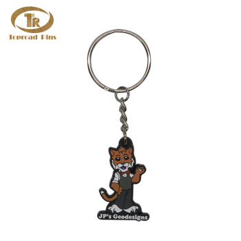 Factory direct price  high quality cartoon lovely  lucky cat rubber silicone cat keychain