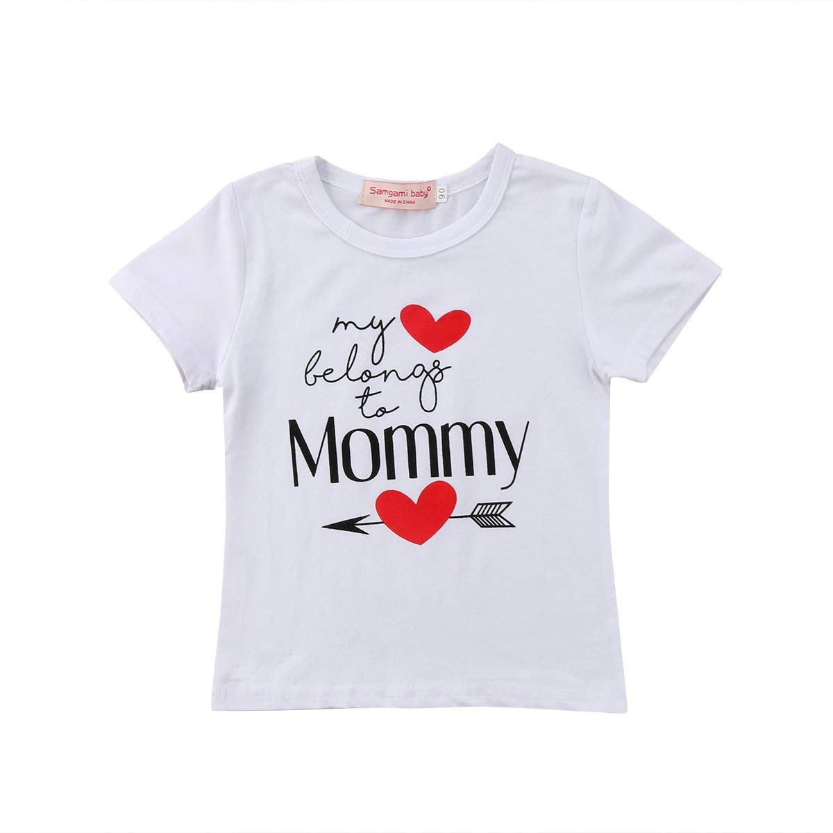 fbf1dec717cb Get Quotations · Newborn Infant Baby Boys Girls Valentine s Day White  Cotton Romper Bodysuit Kids T-Shirt Outfits