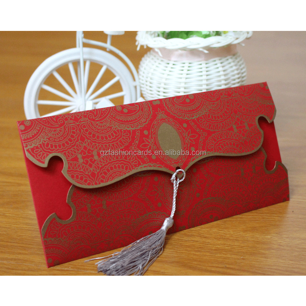 Dark Red Tassel Embellished Classical Wedding Invitation Card - Buy ...
