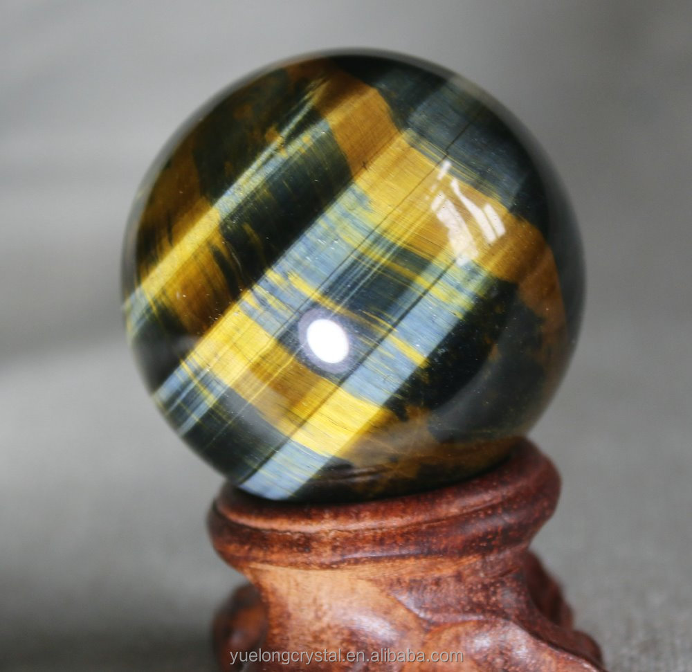Wholesale High Quality Natural blue/Yellow tiger eye Quartz Crystal Ball for decoration