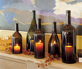 Recycle Wine Bottle Candle Holder Insert With Por Design As Dec