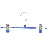 Cheap colorful metal pants hangers with PVC coated clips