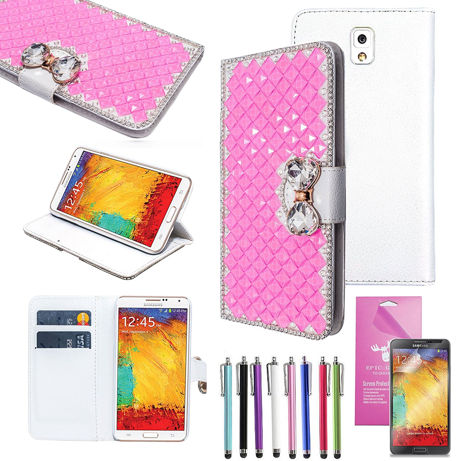 EpicGadget(TM) For Samsung Galaxy Note3 Handmade Luxury Pink Crystal Bling Bling White PU Leather Case With Crystal Bow Knot Wallet Case Magnet Flip Cover With Credit Card Holder Pouch + Note 3 N9000 Screen Protector + 1 Stylus Pen (Random Color) (US Seller!!) (Pink)