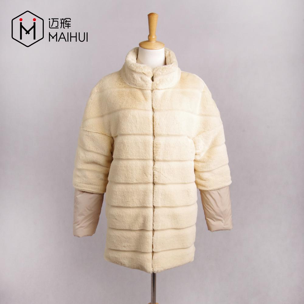 Kadın Giyim Tavşan Kürk Mont Faux Kürk Uzun Ceket