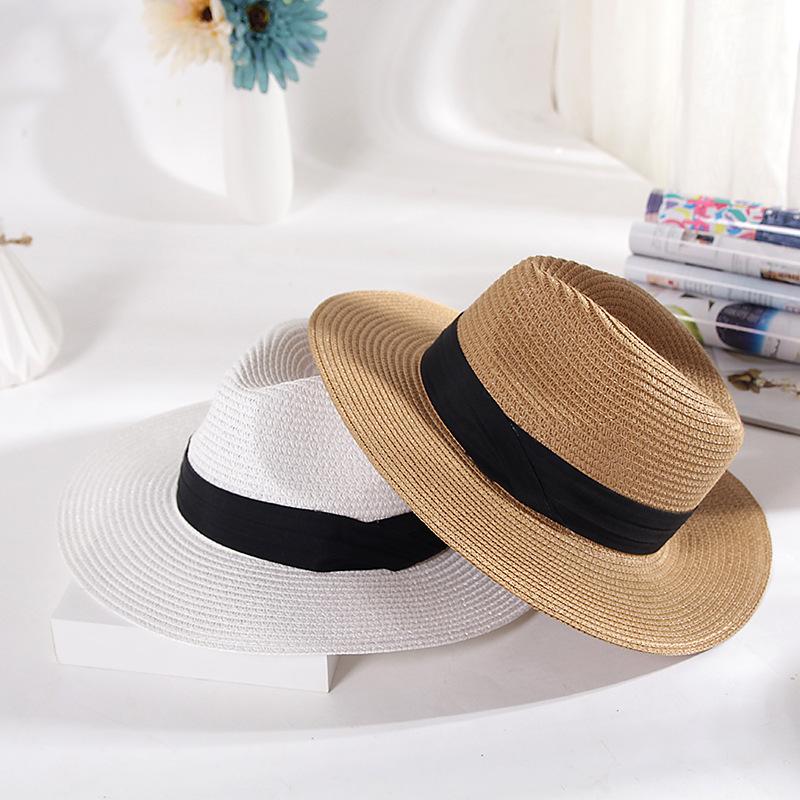 Aangepaste goedkope zomer strand plain stro strand hoed groothandel vrouwen panama hoed