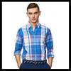 New design comfortable anti-wrinkle blue big check custom mechanic shirts for men