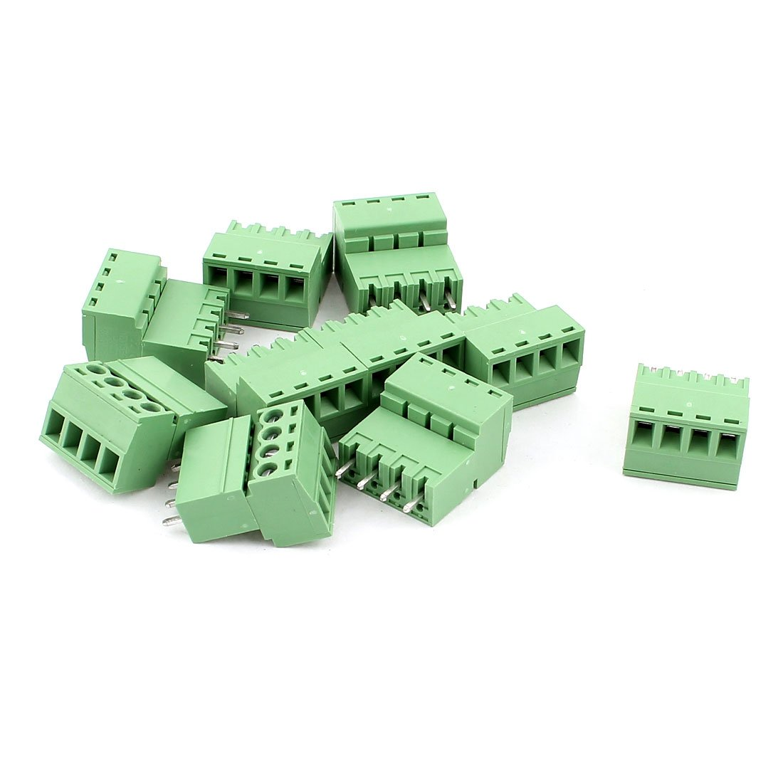 uxcell 10 Pcs AC 300V 10A 4 Pins PCB Terminal Block Connector 5.08mm Pitch Green
