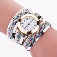 Fashion Women Rhinestone Leather Bracelets Wrap Lady Wrist Watch Women Cheap Watch