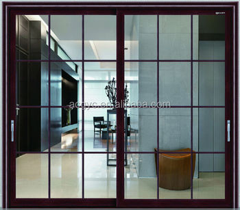 Modern Home Design Heavy Duty Glass Sliding Door Grid Design Wood Like  Aluminium Door Good Window
