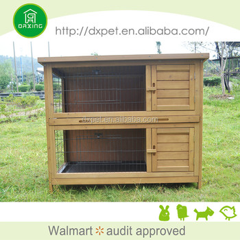 2-Story Bunny Cage Small Animal Rabbit Hutch Pet Supplies with Sloped Roof  and RampHutch