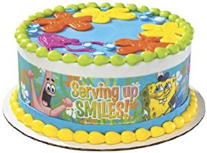 Spongebob Serving Up Smiles Designer Prints Edible Cake Image