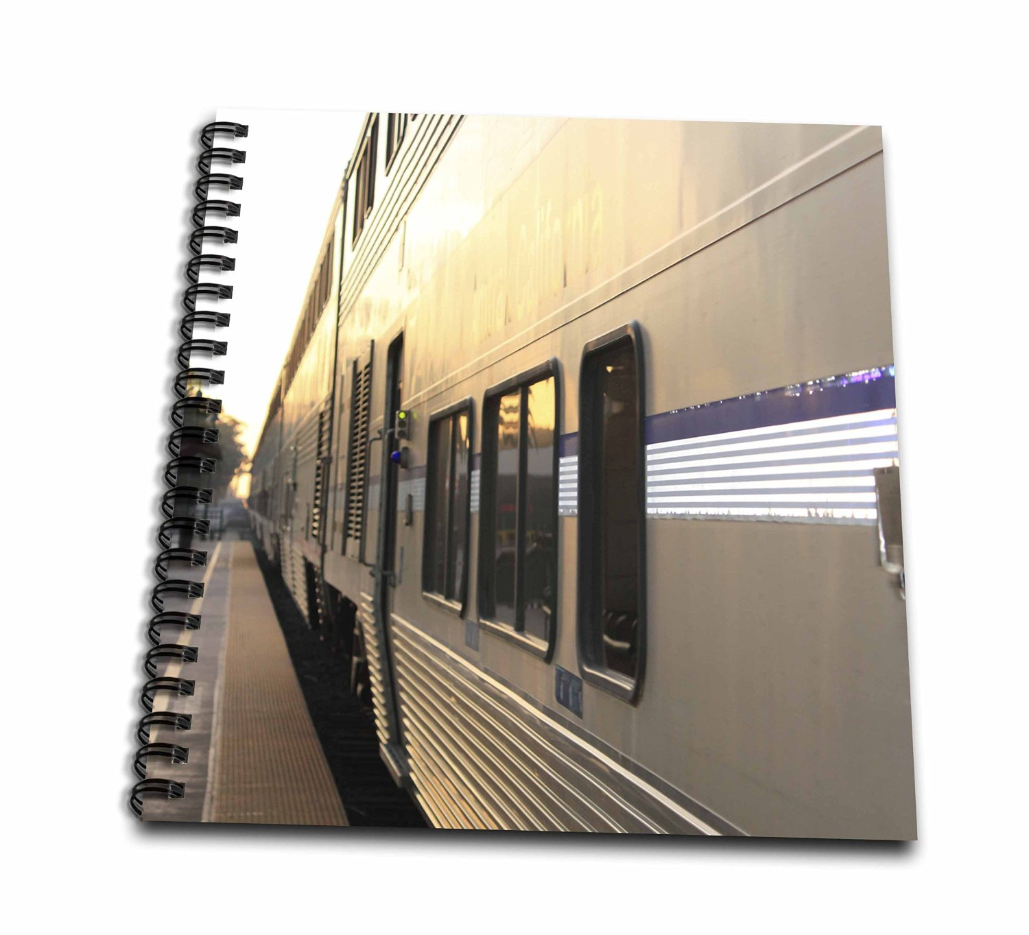 Henrik Lehnerer Designs - Transportation - Train Station in Ventura California with a view of a train. - Mini Notepad 4 x 4 inch (db_216201_3)