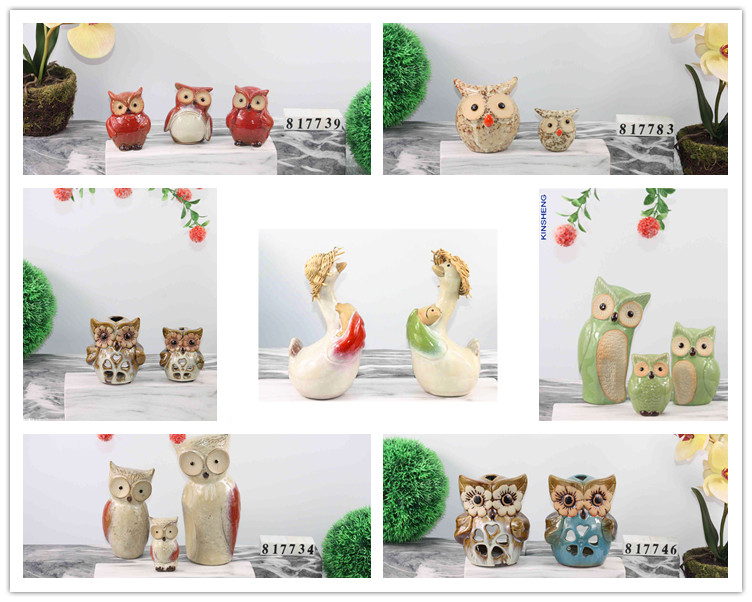 Wholesale selling lovely ceramic painted home decorative animal owl