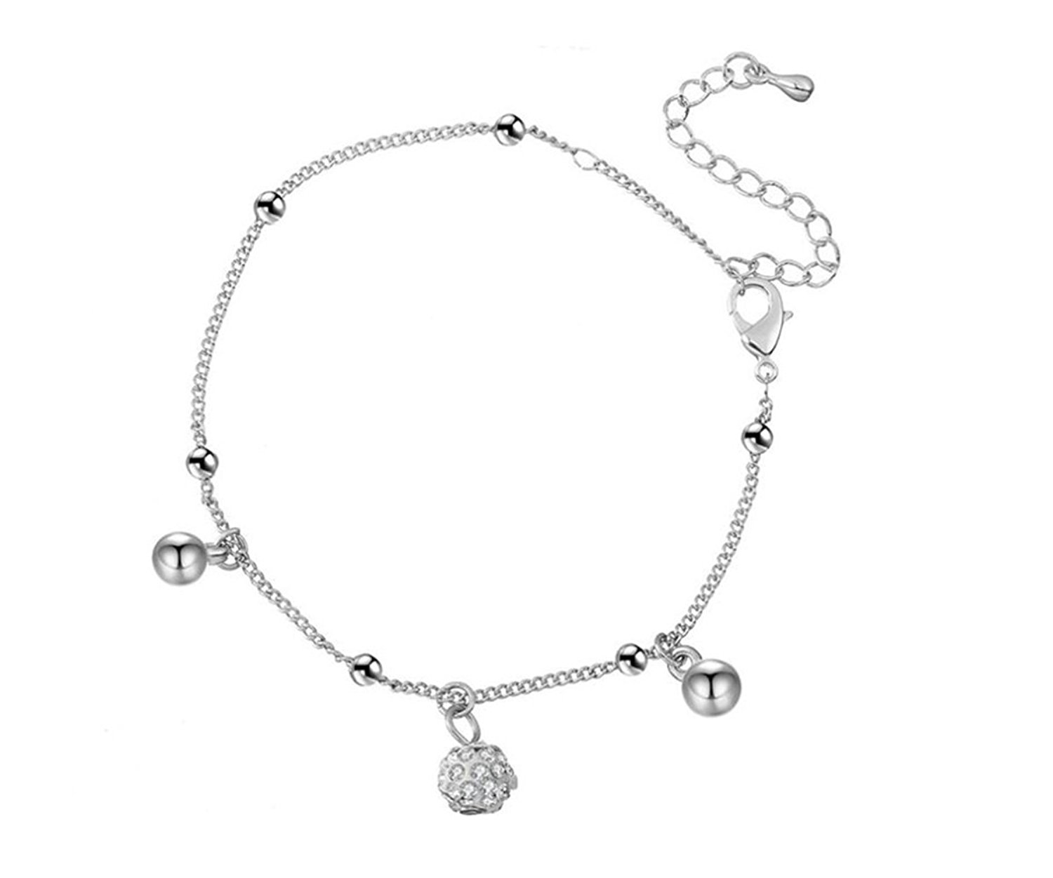 PORPI-JOJO Cubic Zirconia Ball Women Anklet Sexy Beach Anklets Foot Jewelry Adjustable for Mother's Day