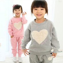 Autumn Newborn Baby Girl Clothing Set 2 Pieces Sets Long Sleeve T-shirt+Pants Girls Casual Love Pattern Infant Clothes
