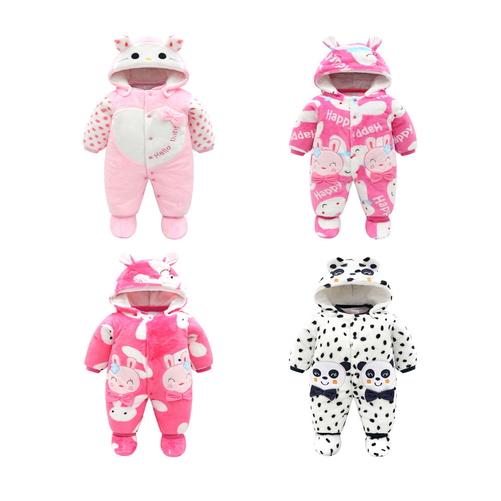 Autumn Winter Warm Baby Clothes Newborn Cartoon Elephant Baby Rompers Jumpsuit Long Sleeve Cotton Sleepwear Baby Girl Clothes Rapid Heat Dissipation Boys' Baby Clothing