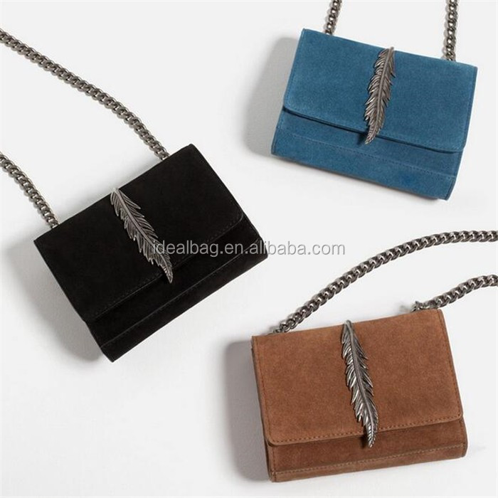 Hot sale kroean classical style woman handbag fashion chain suede material ladies crossbody shoulder bag